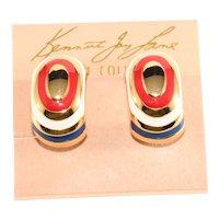 K.J.L. Earrings Red White Blue Enamel Gold Plated Patriotic Kenneth Jay lane KJL