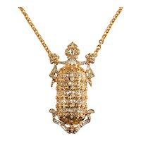 K.J.L. Necklace Faux Pearl Rhinestones Perfume Bottle Shape KJL Kenneth Jay Lane