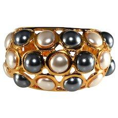 KJL Cuff Bracelet Faux Pearls White Gray Kenneth Jay Lane K.J.L.