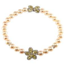 K.J.L. Necklace Faux Pearls Rhinestone Flower Yellow Clear KJL Kenneth Jay Lane