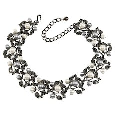 KJL Necklace White and Gray Faux Pearl Black Rhinestones K.J.L. Kenneth Jay Lane