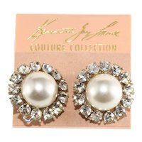 K.J.L. Earrings Faux Pearl Rhinestones on Card Couture Collection Kenneth Jay Lane KJL