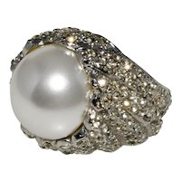 K.J.L. Ring Faux Pearl Clear Rhinestones Finger Size 7.5 Kenneth Jay Lane KJL