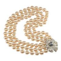 KJL Necklace Knotted Faux Pearls Rhinestone Flower Clasp K.J.L. Kenneth Jay Lane