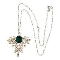 K.J.L. Pendant Necklace Emerald Green Clear Rhinestones KJL Kenneth Jay Lane