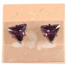 K.J.L. Earrings Purple Triangle Rhinestones on Card Kenneth Jay Lane KJL