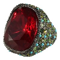 KJL Ring Red Green Rhinestones Turquoise Blue Beads K.J.L. Kenneth Jay Lane