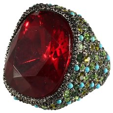 KJL Ring Red Green Rhinestones Turquoise Blue Beads K.J.L. Kenneth Jay Lane