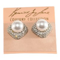K.J.L. Earrings Rhinestones Faux Pearl on Card Couture Collection Kenneth Jay Lane KJL