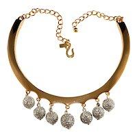 K.J.L. Necklace Collar Rhinestone Balls Dangles Gold Plated Kenneth Jay Lane KJL
