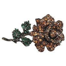 K.J.L. Brooch Rose Amber Green Flower Pin