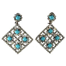 Kenneth Jay Lane LARGE Turquoise Blue Clear Rhinestone Earrings K.J.L. Vintage