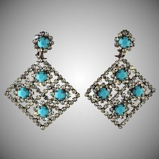 Kenneth Jay Lane LARGE Turquoise Blue Clear Rhinestone Earrings K.J.L. Vintage