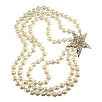 K.J.L. Necklace Faux Pearls Star Clasp Rhinestones KJL Kenneth Jay Lane