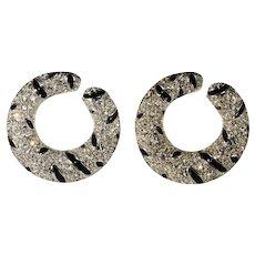 KJL Tiger Stripe Rhinestone Earrings K.J.L. Kenneth Jay Lane