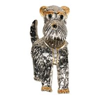 KJL Brooch Dog Trembler Head Schnauzer Terrier Pin K.J.L. Kenneth Jay Lane