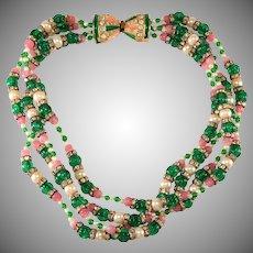 KJL Kenneth Jay Lane Necklace Torsade Green Pink Pearl Vintage 1960s