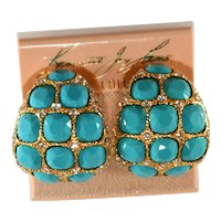K.J.L. Earrings Turquoise Blue Clear Rhinestones on Card Vintage