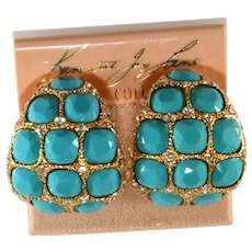 K.J.L. Earrings Turquoise Blue Clear Rhinestones on Card Vintage