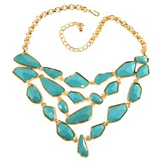 KJL Necklace Bib Turquoise Geometric Resin Gold Plated