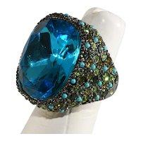 K.J.L. Ring Turquoise Blue Green Rhinestones Green Finger Kenneth Jay Lane KJL