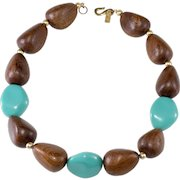 K.J.L. Wood and Turquoise Bead Necklace Kenneth Jay Lane