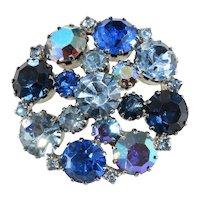 Karu Arke' Brooch Blue Iridescent Rhinestone Vintage Pin