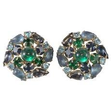 Karu Arke' Blue Green Rhinestone Cluster Earrings Vintage