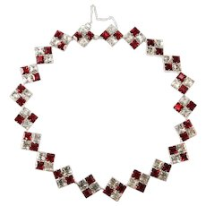 Karu Red and Clear Rhinestone Necklace Vintage