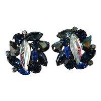 Kramer Leaf Fruit Salad Style Blue Rhinestone Earrings Vintage