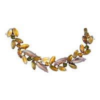 Kramer Bracelet 1950s Art Glass Leaf Stone Amber Green Rhinestones Vintage