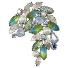 Unmarked Kramer Leaf Rhinestone Blue Green Leaf Brooch Pin Vintage