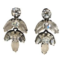 Kramer Earrings Leaf Frosted Stone Clear Rhinestones Iridescent Dangle Beads 1950s Vintage