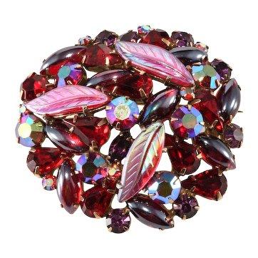 Kramer Brooch Leaf Fruit Salad Style Red Rhinestone Pin Vintage