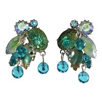 Kramer Earrings Blue Yellow Rhinestones Iridescent Dangle Beads 1950s Vintage