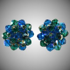 Laguna Blue and Green Cluster Earrings with Rhinestones Vintage