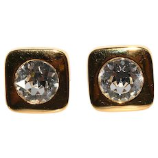 Lanvin Earrings Large Clear Rhinestones Polished Gold Tone Vintage 1970s