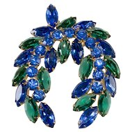 Laurel Wreath Blue Green Rhinestones Brooch Pin Vintage