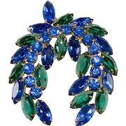Laurel Wreath Blue Green Rhinestones Brooch Pin Vintage