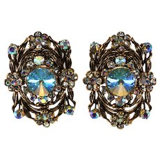 LARGE Iridescent Aurora Borealis Earrings Hollycraft Style