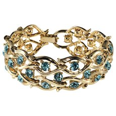 Lisner Blue Rhinestone Bracelet Vintage 1950s