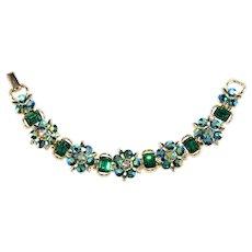 Lisner Bracelet Green Rhinestones Aurora Iridescent Vintage Small Wrist or Child's