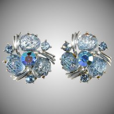 Lisner Ice Blue Lava Rock Rhinestone Earrings Vintage