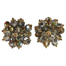 Lois Ann Earrings Clusters Beads Gray Iridescent Vintage
