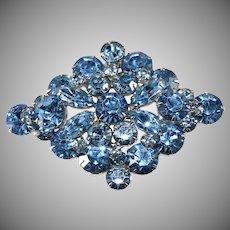 1950s Light Blue Diamond Shaped Rhinestone Brooch Vintage