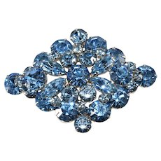 1950s Light Blue Diamond Shaped Rhinestone Brooch Vintage