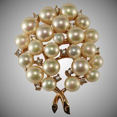 Majorica Simulated Pearl and Rhinestones Brooch Pin