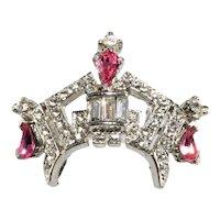 Petite Crown Headdress Pin Pink Clear Rhinestones Brooch