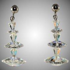 Margarita Clear Iridescent Dangle Earrings Vintage