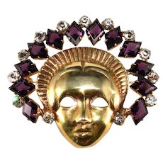 Mazer Sterling Lady with Purple Rhinestone Headdress Face Mask Pin